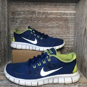 Nike Free 5.0 Running Shoes Blue 580558-400 Lace